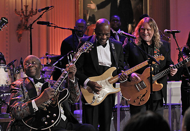 Guy, and Warren Haynes, right, perform during the White House Music Ser…